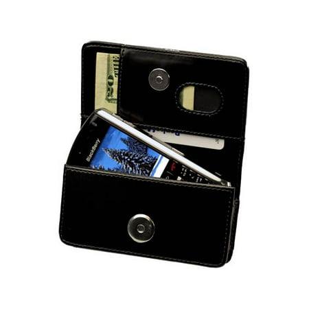 Cellet Blackberry Pearl 8100 Sleep Mode Black Wallet Case with Cellet Removable Spring Clip & Swivel