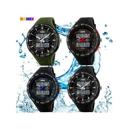 SKMEI Men Waterproof Dual Time LED Military Date Chrono Sport Quartz Wrist Watch