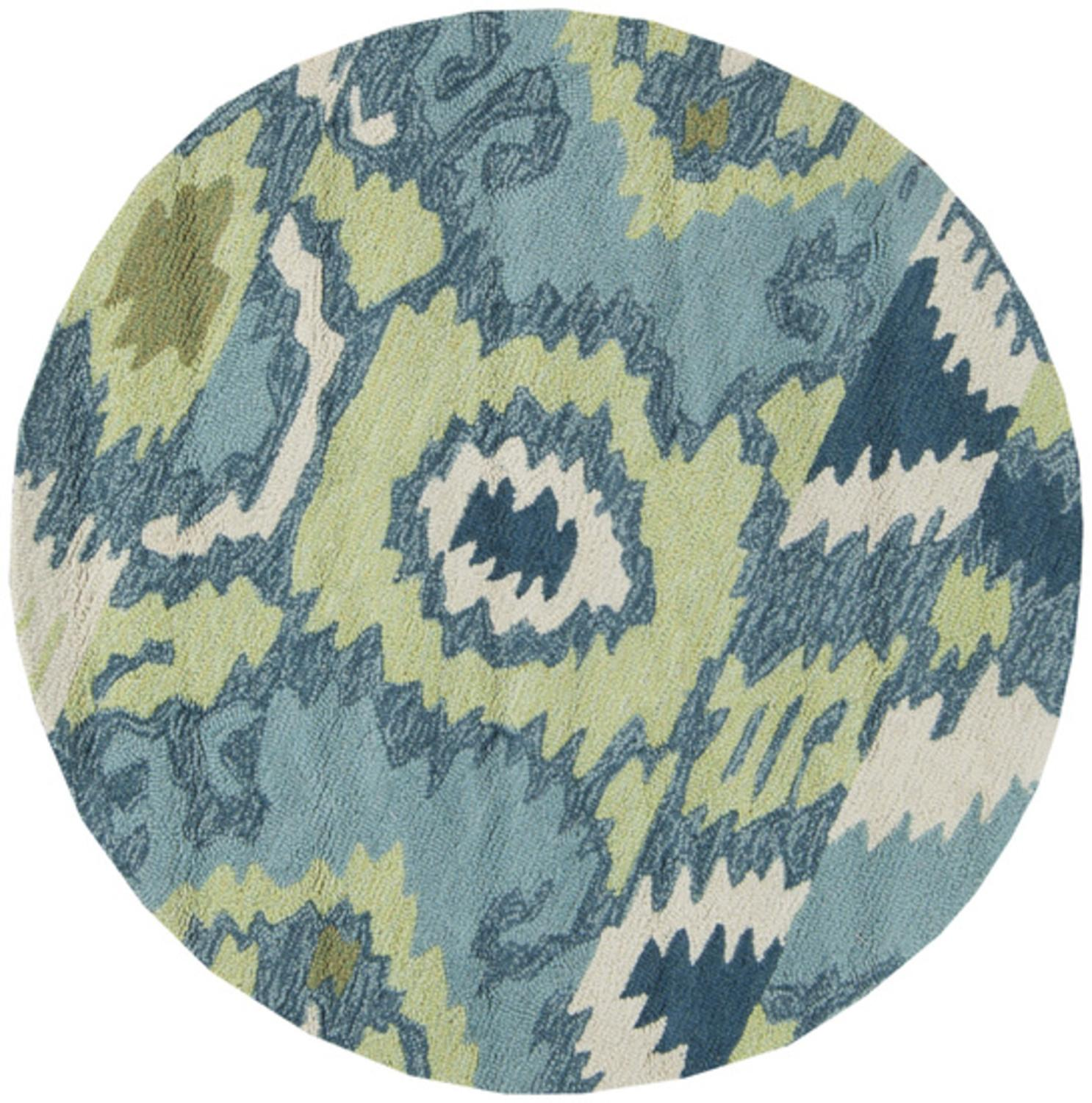 3' Azure Dreams Teal Blue and Light Green Hand Hooked Round Area Throw Rug