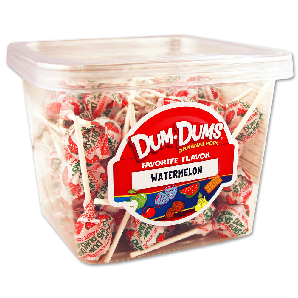 Dum Dums Watermelon Lollipops, 1 LB Tub by Spangler