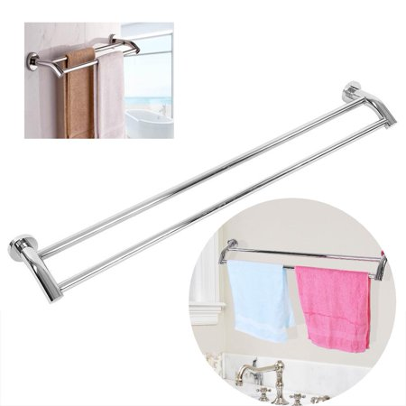 Hilitand Towel Holder 2-Pole in Stainless Steel Towe Rail Slip Strong Resistance with Hook,Bathroom Towel Rack, Double Tower Rod