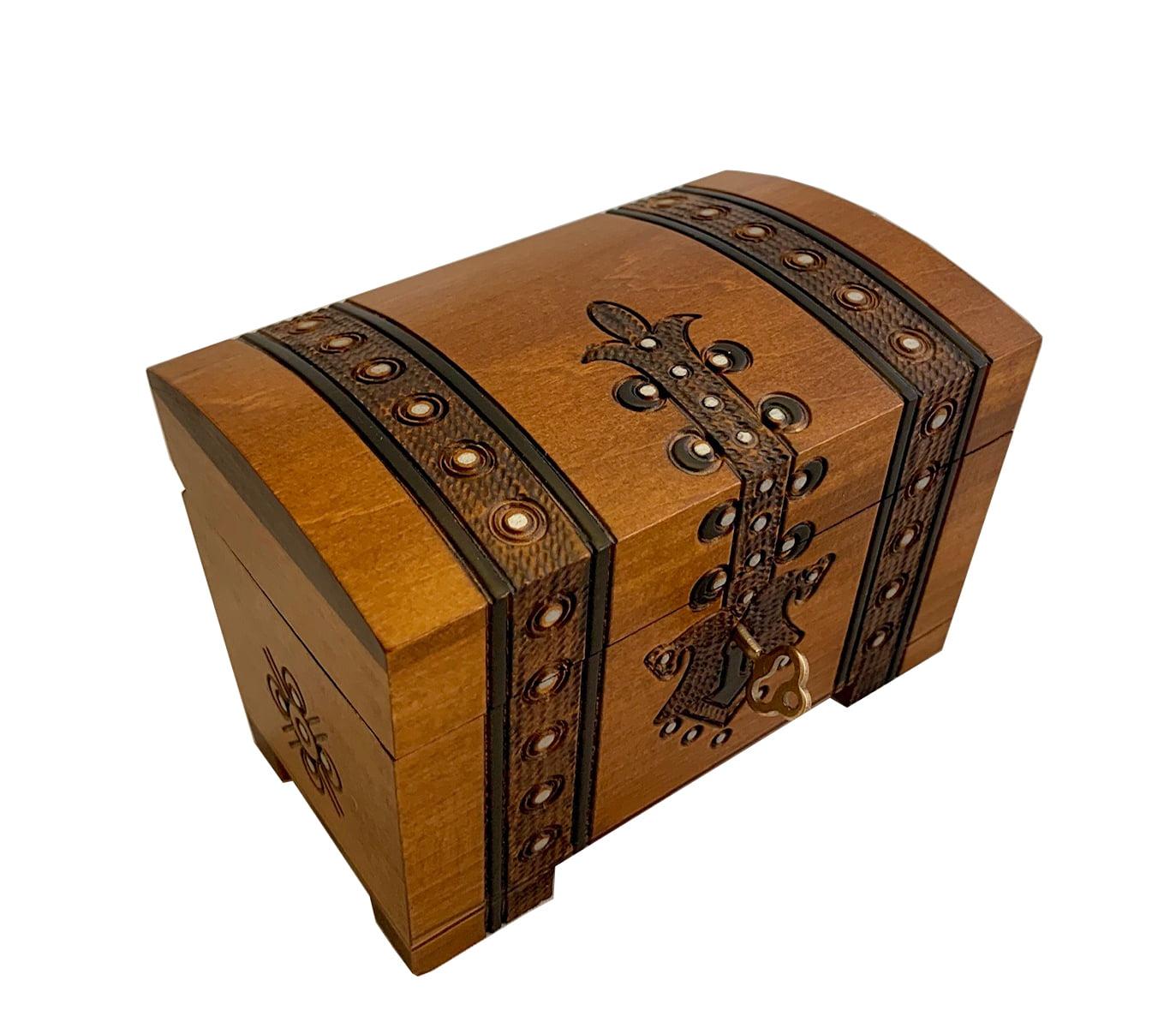 Jewelry Storage Treasure Chest Handmade Wood Case Necklace Bracelet 2 in 1 Lock