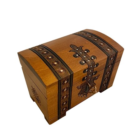 Swarovski Treasure Box - Handmade Wooden Treasure Chest Box w/ Lock and Key Polish Linden Wood Jewelry Keepsake