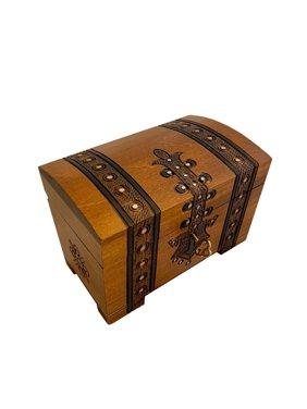 Handmade Wooden Treasure Chest Box w/ Lock and Key Polish Linden Wood Jewelry Keepsake