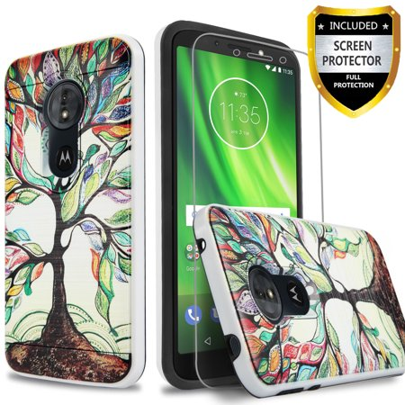 Tree Moto Bars (Moto E5 Play Case, E5 Cruise Case, 2-Piece Style Hybrid Shockproof Hard Case Cover with [ Premium Screen Protector] And Circlemalls Stylus Pen [Lucky Tree])