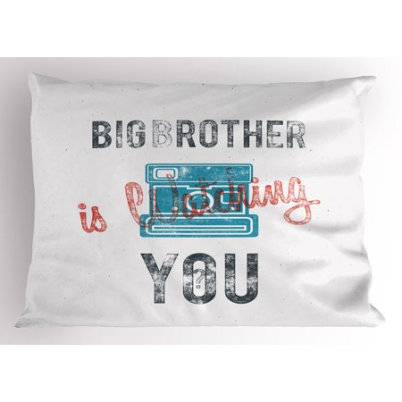 Icon Analogue Watch - Vintage Pillow Sham Half Toned Big Brother Quote with Old-Fashion Analogue Camera Icon Book Web Print, Decorative Standard Size Printed Pillowcase, 26 X 20 Inches, Blue Grey, by Ambesonne