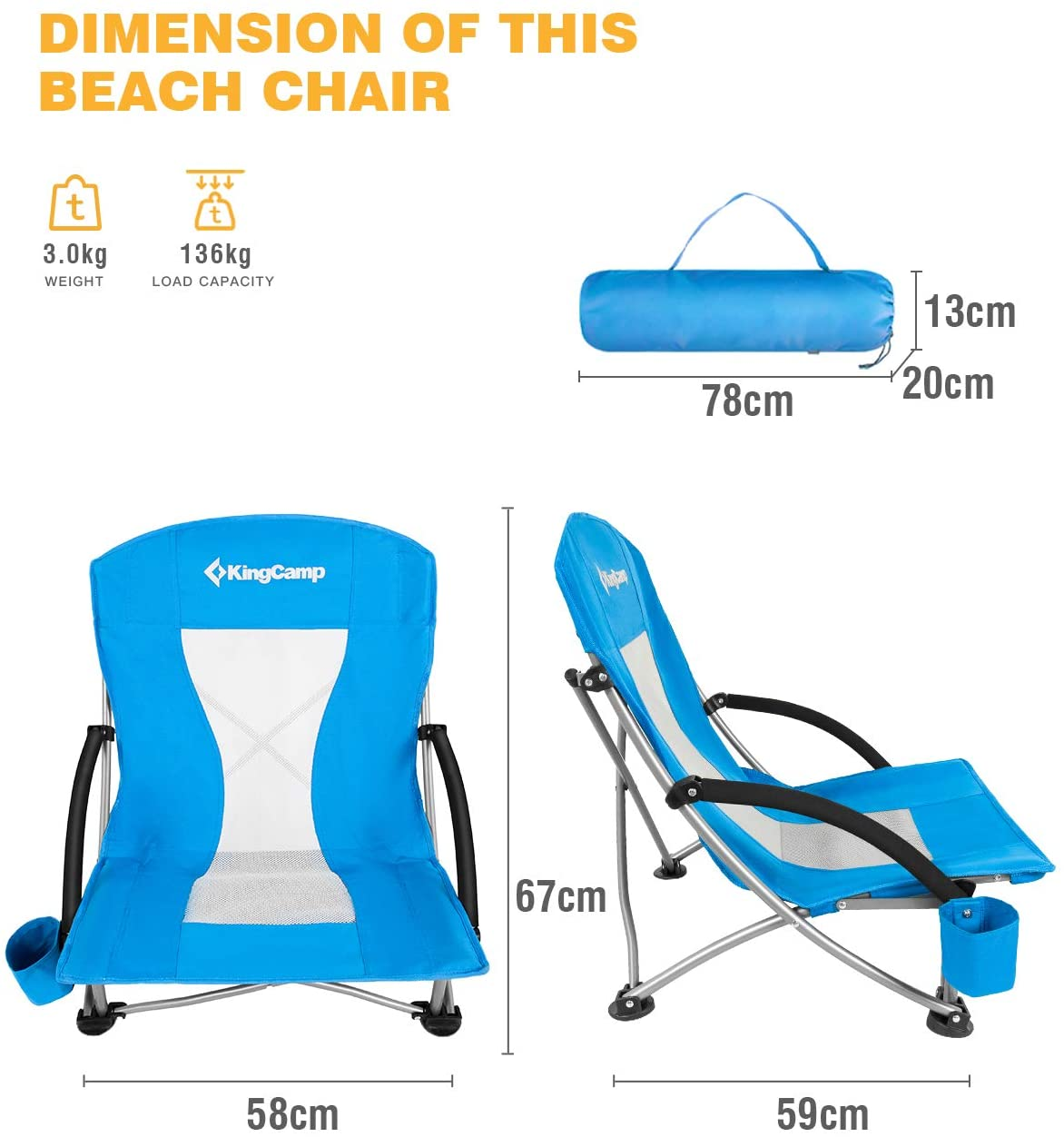 Low and High Mesh Back Two Versions KingCamp Low Sling Beach Chair for Camping Concert Lawn