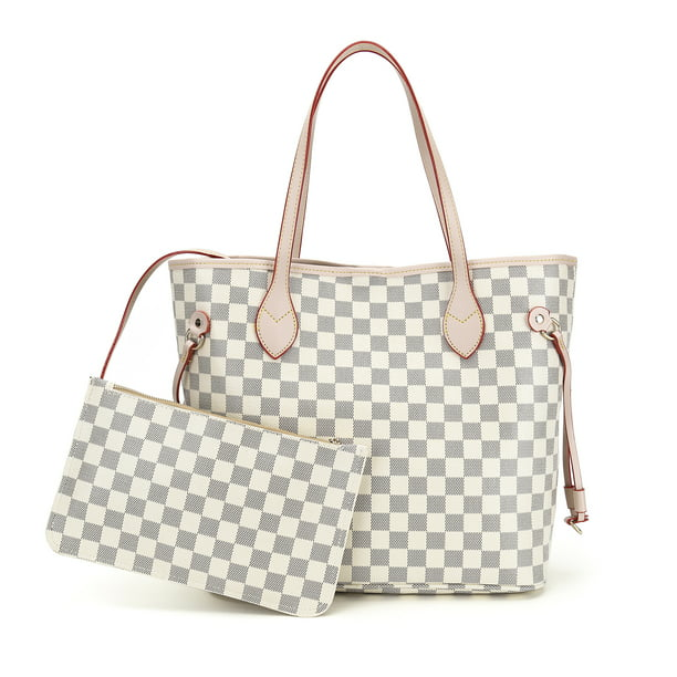 RICHPORTS Checkered Tote Shoulder Bag with inner pouch - PU Vegan Leather