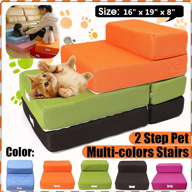 Pet Stair Vanvler Breathable Mesh Foldable Pet Stairs