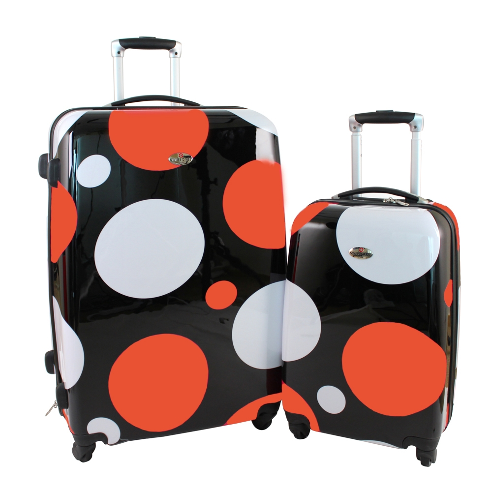Swiss Case 4 Wheel Spinner ABS 2 PC Luggage Set ORANGE DOTS Hardside Suitcases