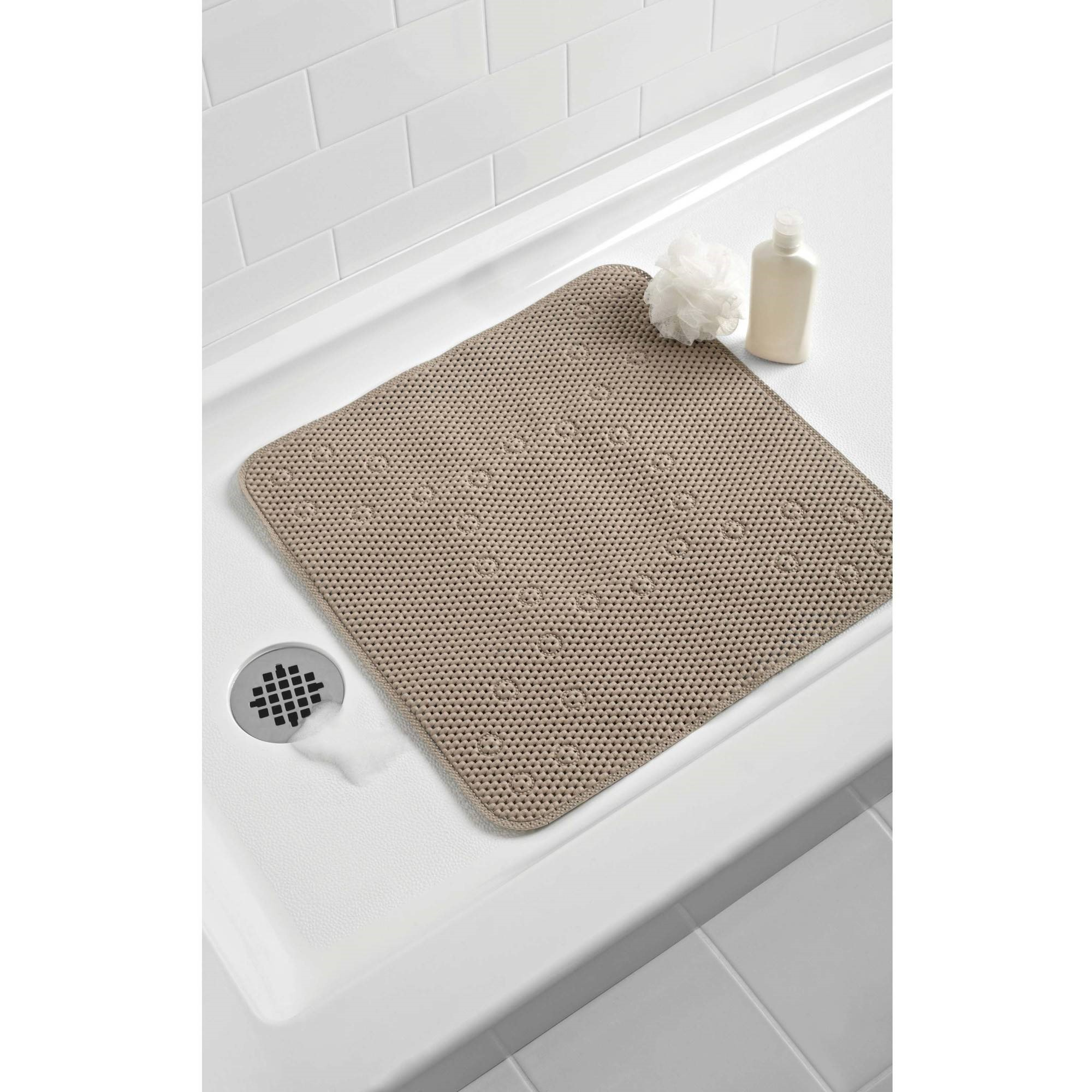 Mainstays 21 In. x 21 In. Cushioned Shower Mat, Taupe