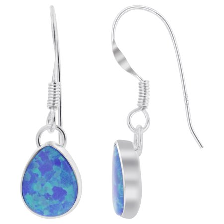 Gem Avenue 925 Sterling Silver Blue Opal Pear French Hook Drop Earrings (Light Blue Opal Gemstone)