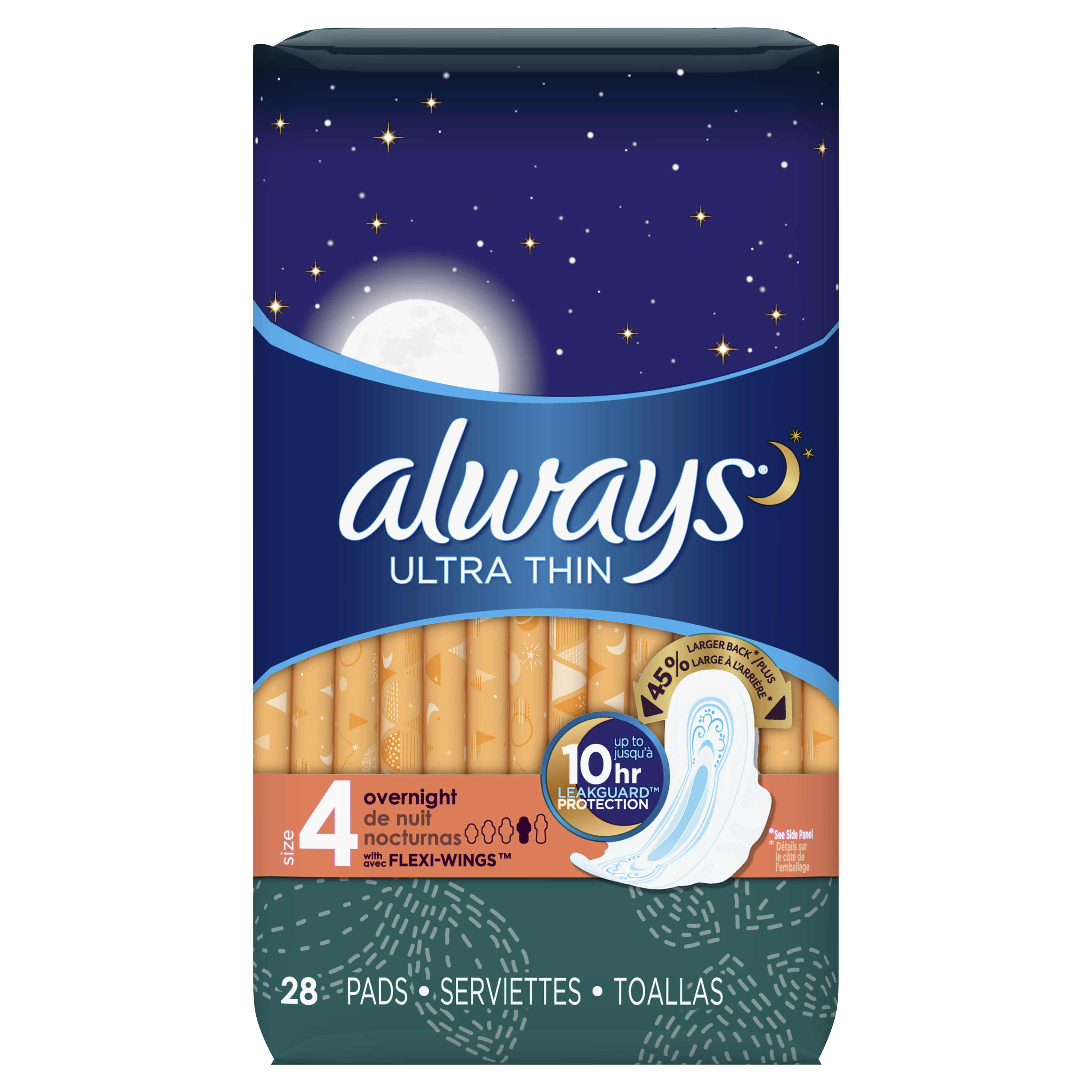 Always Ultra Thin, Size 4, Overnight Pads With Wings, Unscented, 28 Count