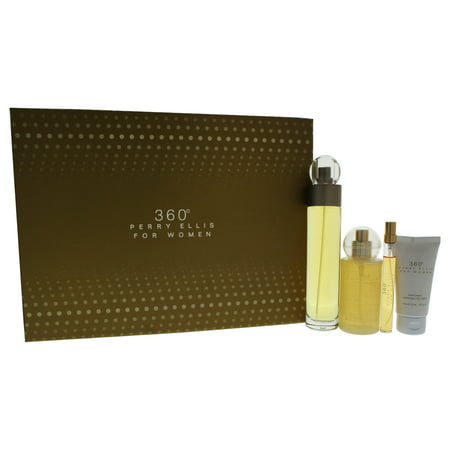 360 by Perry Ellis for Women - 4 Pc Gift Set 3.4oz EDT Spray, 0.25oz EDT Spray, 4oz Body Mist Spray,