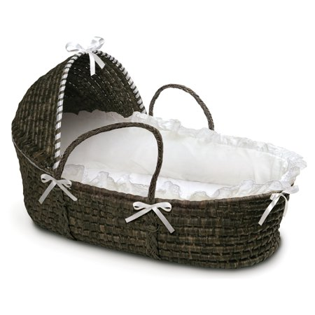 Badger Basket - Espresso Moses Basket with Hood and White