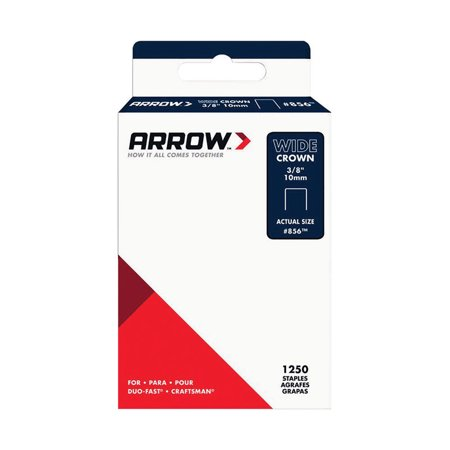 Arrow Fastener 856SP #856 Wide Crown Standard Staples, Galvanized Steel, Grey, 3/8