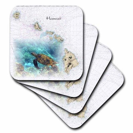 - 3dRose Print of Hawaiian Islands Chart With Sea Turtle - Ceramic Tile Coasters, set of 4