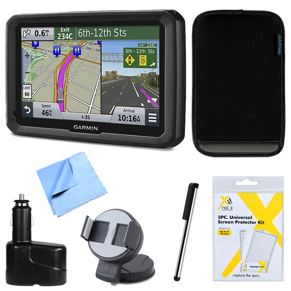 "Garmin dezl 570LMT 5"" Truck GPS Navigation Lifetime Maps/Traffic Dashboard Mount Bundle - Includes 5"" Truck GPS Navigation System, Car Charger, Stylus Pen with Pocket Clip, Carry Soft Case and More"