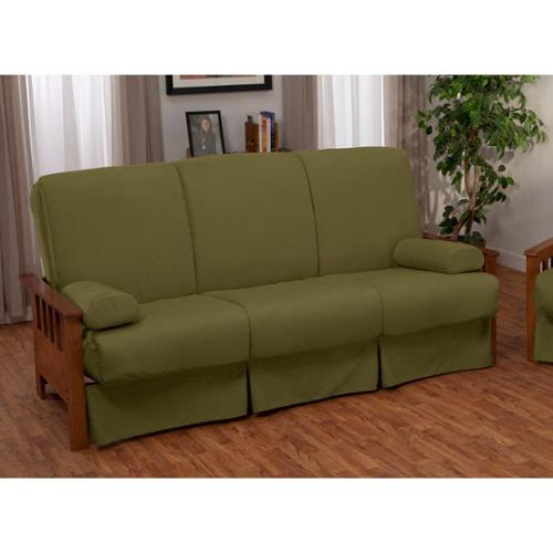 Provo Perfect Sit & Sleep Mission-style Pillow Top Full-size Sofa Bed Natural Arms with Leather Look Navy Upholstery
