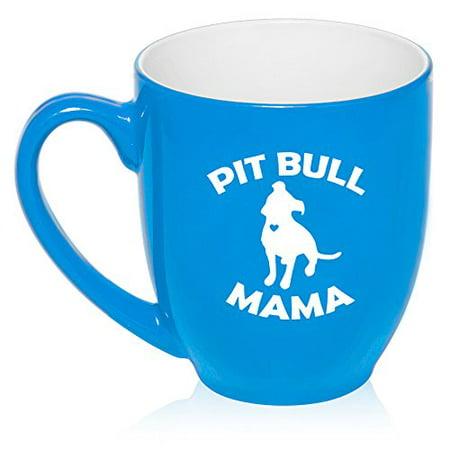16 oz Large Bistro Mug Ceramic Coffee Tea Glass Cup Pit Bull Mama (Light - Blue Glass Cups