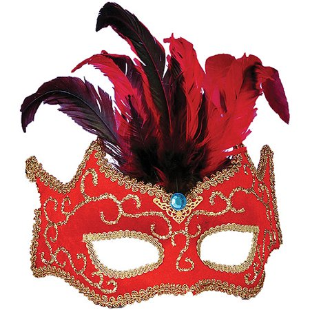 Red with Gold Trim Half Style Adult Mask