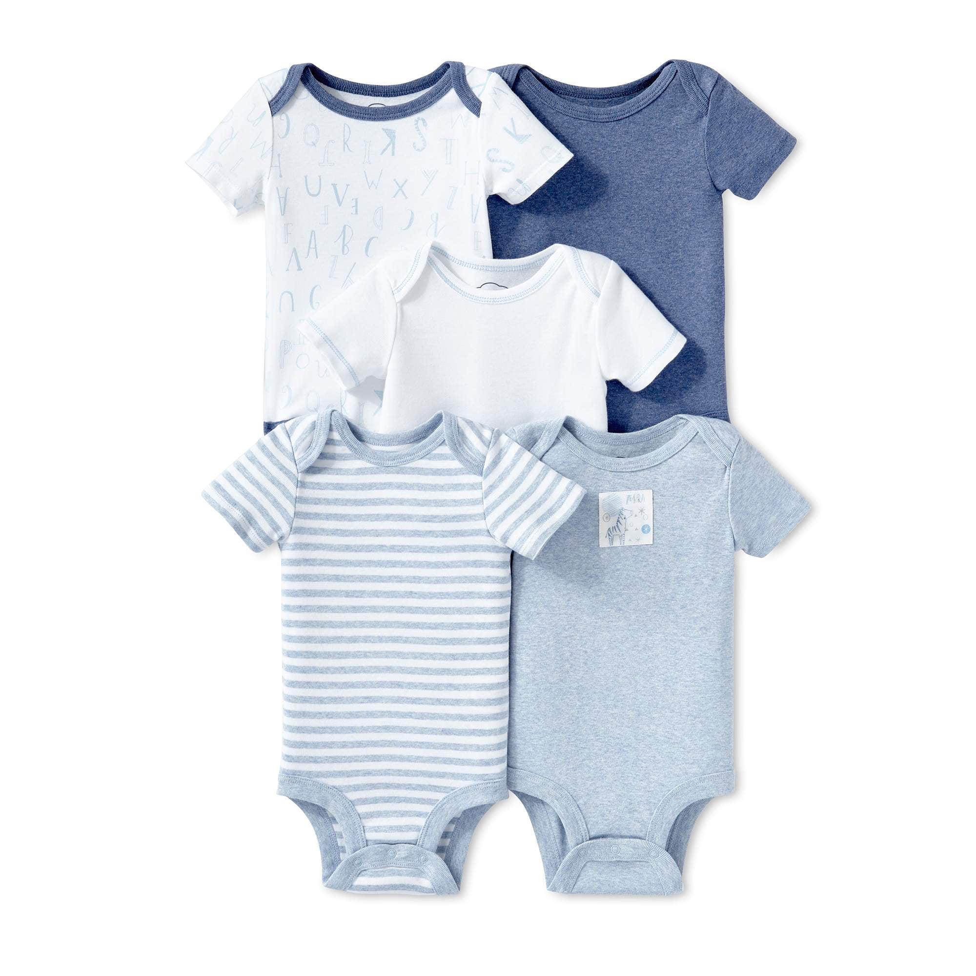 Lamaze Organic Baby Boys Lamaze Baby Organic 5 Pack Shortsleeve Bodysuits Blue 6M