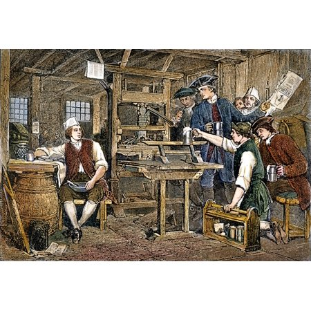 Benjamin Franklin (1706-1790) Namerican Printer Publisher Scientist Inventor Statesman And Diplomat Franklin In Watts Printing Office London Color Engraving After The Painting By Eyre Crowe 1858 Rolle