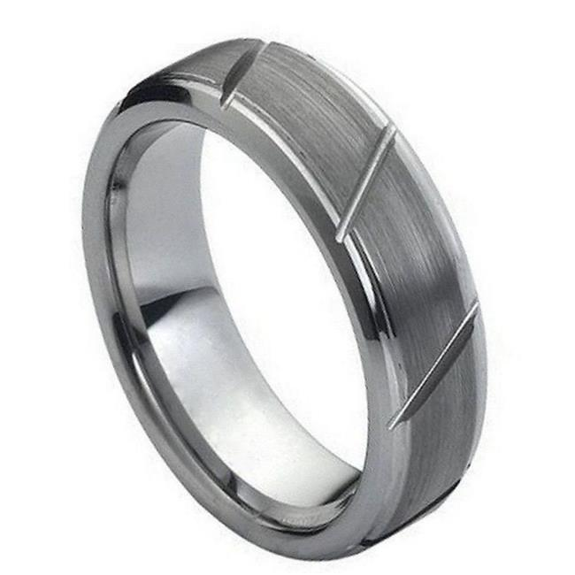 TK Rings 045TR-7mmx15.0 7 mm Multiple Diagonal Grooves Brushed Center Tungsten Ring - Size 15 - image 1 de 1