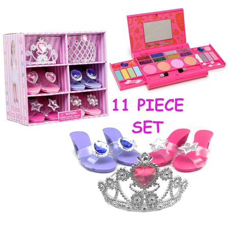 Princess Dress Up Role Play Makeup Set WASHABLE with Mirror and Includes 2 Shoe sets 1 set of Pink Princess Gloves Jewelry Boutique NON TOXIC