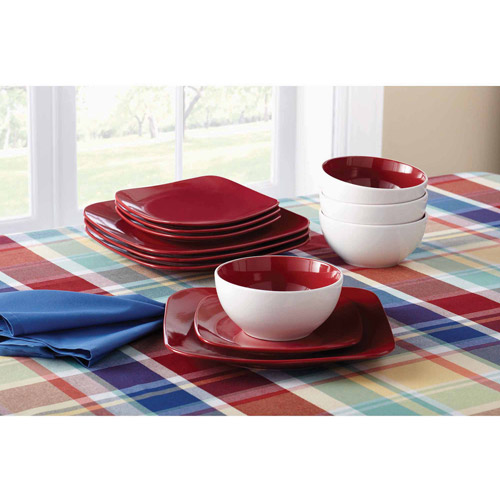 Mainstays 12-Piece Medium Square Dinnerware Set, Red Sedona