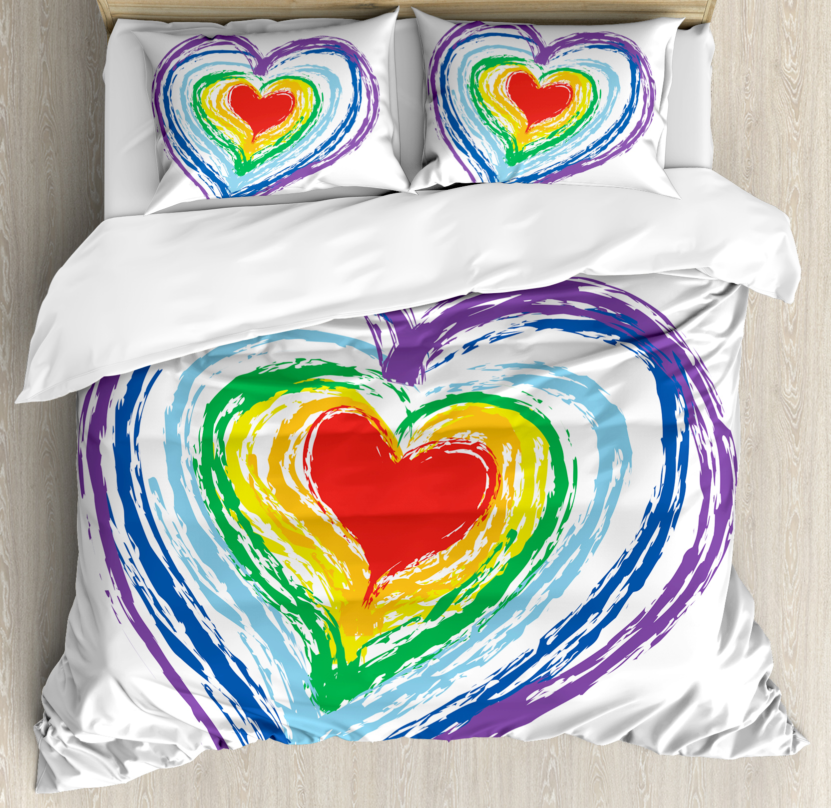 Doodle Queen Size Duvet Cover Set, Love Themed Nested Rainbow Heart with a Simplistic Style Vibrant Colored Work of Art, Decorative 3 Piece Bedding Set with 2 Pillow Shams, Multicolor, by Ambesonne
