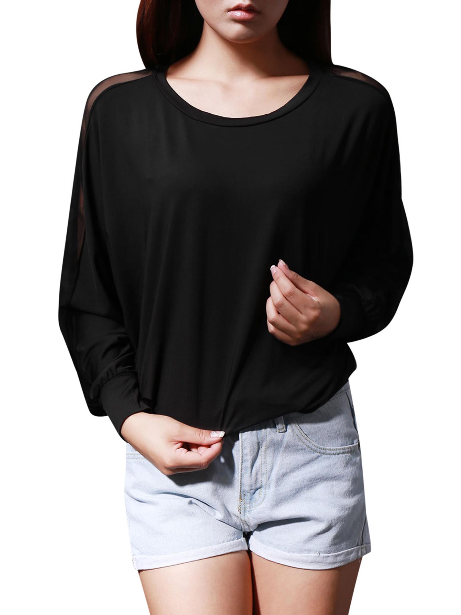 Women's Gauze Panel Long Sleeve Shirt