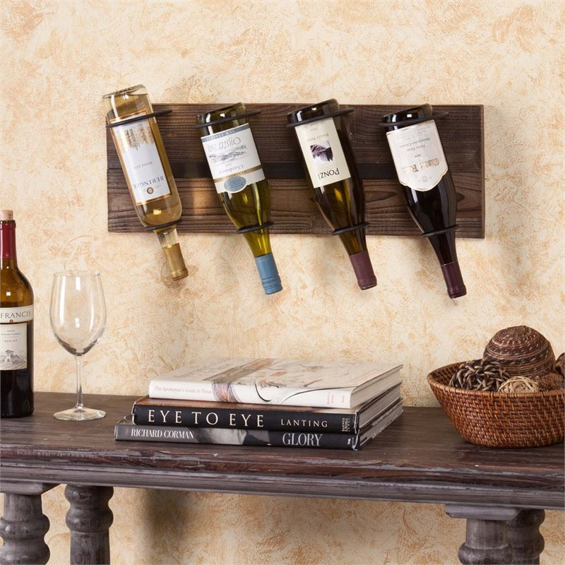 Southern Enterprises Saxon Wall Mount Wine Rack in Weathered Oak by Southern Enterprises