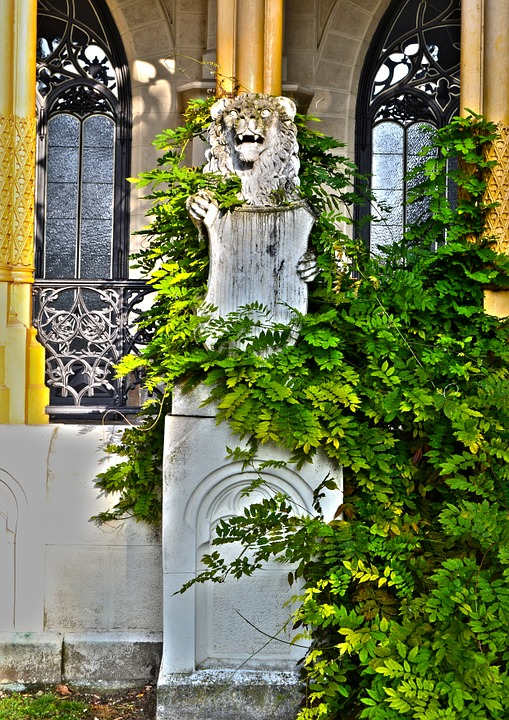 Bohemia Statue Green Leaves Castle Garden Sign Poster Print 24 X 36