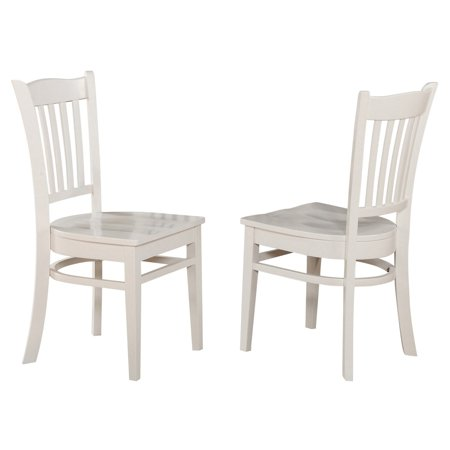 East West Furniture Groton Dining Chair with Wooden Seat - Set of 2