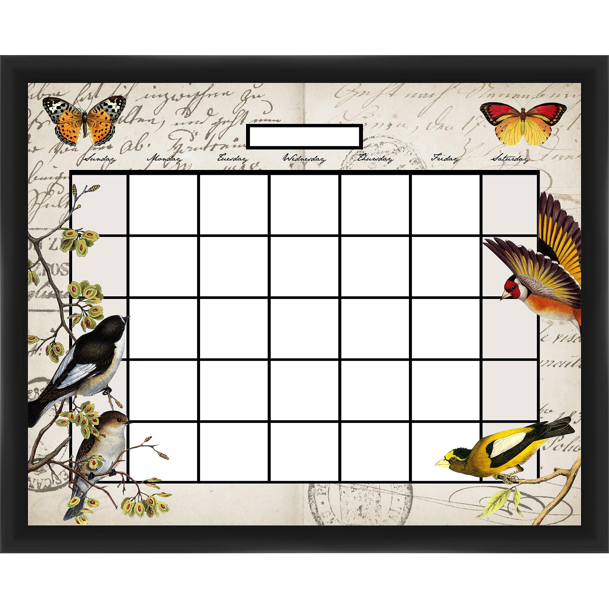 Bird Calendar Black Memoboard
