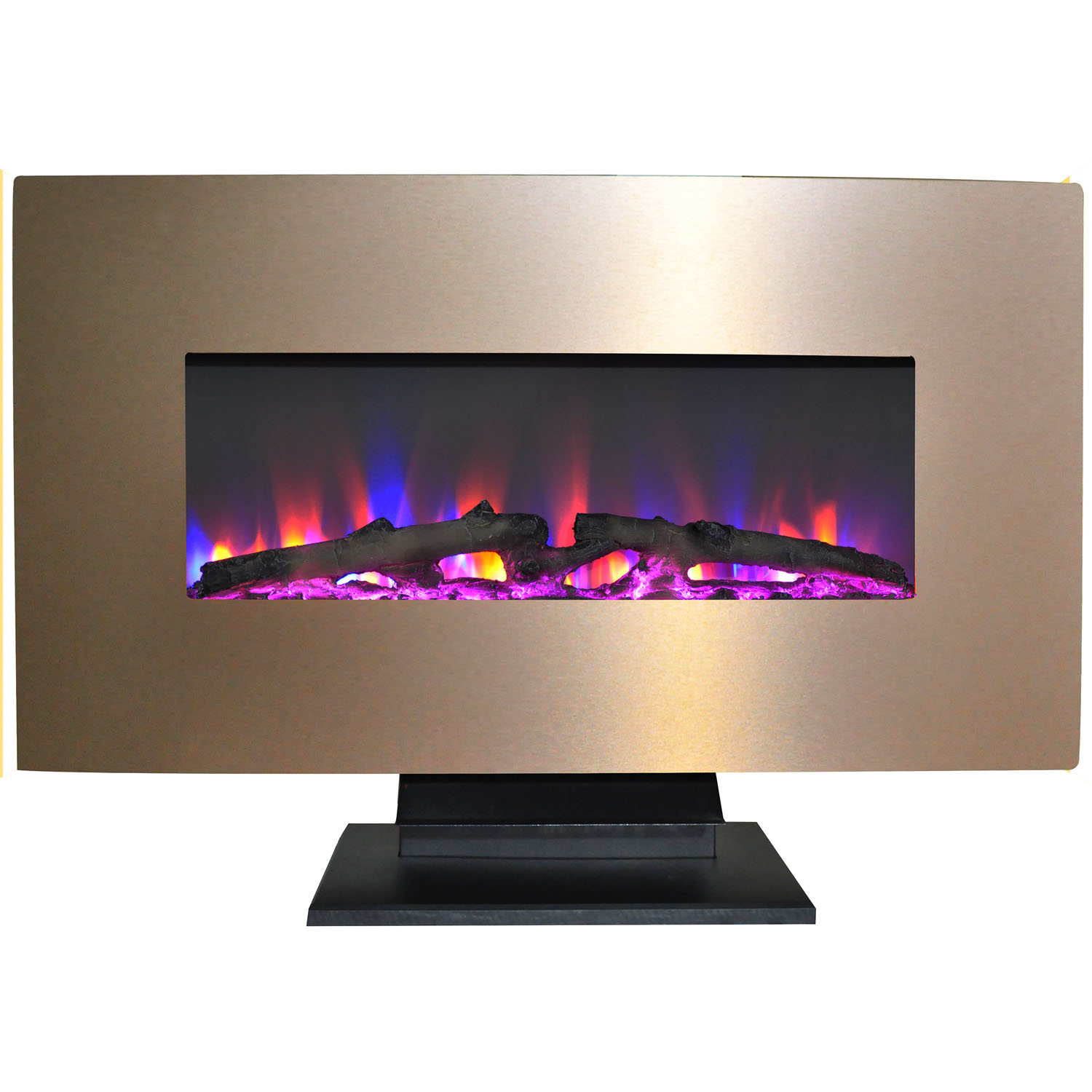"Cambridge 36"" Metallic Electric Fireplace Heater with Multi-Color LED Flames and Driftwood Log"