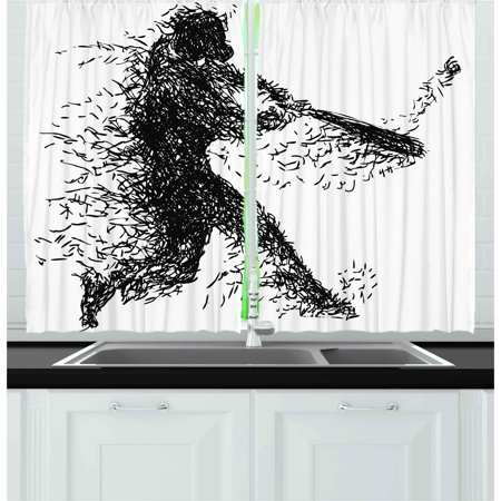 Black and White Curtains 2 Panels Set, Abstract Artistic Illustration of a  Baseball Player Posing Grunge Sports, Window Drapes for Living Room ...