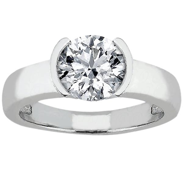 0.52 Ct Round H/I VS2/SI1 Enhanced Diamond 14K White Gold Ring