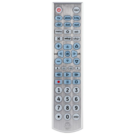 GE Universal Remote Control, 6 Devices, Backlit, Brushed Silver, 33712 6 Wire Standard Remote
