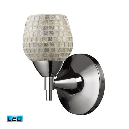 Wall Sconces 1 Light LED With Polished Chrome Finish Silver Mosaic Glass 6 inch 13.5 Watts - World of Lamp