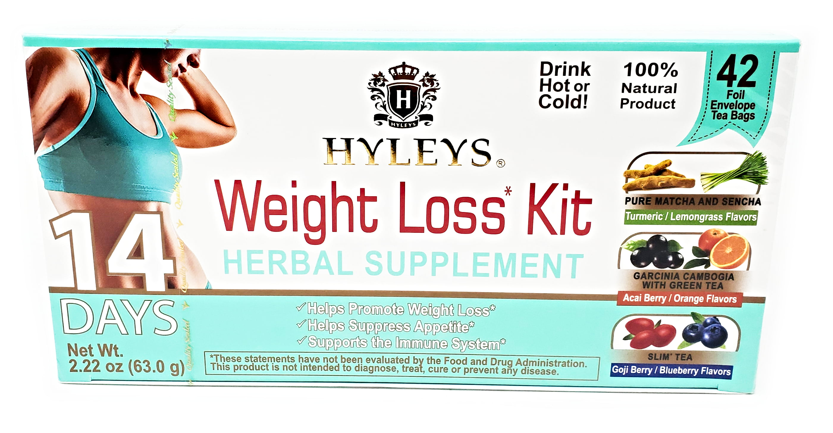 Hyleys 14 Day Weight Loss Kit 42 Foil Envelope Tea Bags Slim Tea