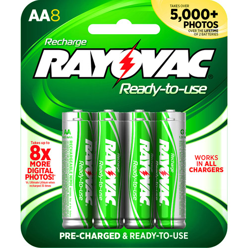 Rayovac Pre-charged Rechargeable NiMH AA Batteries, 8ct