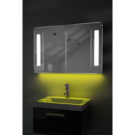 led ambient bathroom mirror cabinet with sensor internal shaver