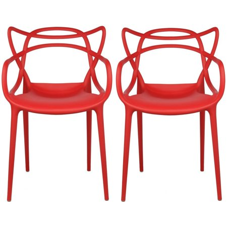 Prime 2Xhome Set Of 2 Red Stackable Contemporary Modern Designer Plastic Chairs With Arms Open Back Armchairs For Kitchen Dining Chair Outdoor Patio Bedroom Ncnpc Chair Design For Home Ncnpcorg