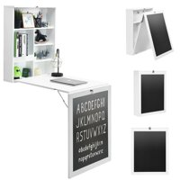 Gymax White/Black/Brown Wall Mounted Table Fold Out Desk with A Blackboard/Chalkboard