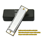 10 Holes 20 Tone Diatonic Blues Harmonica Key of C with Case for Beginner Children Silver