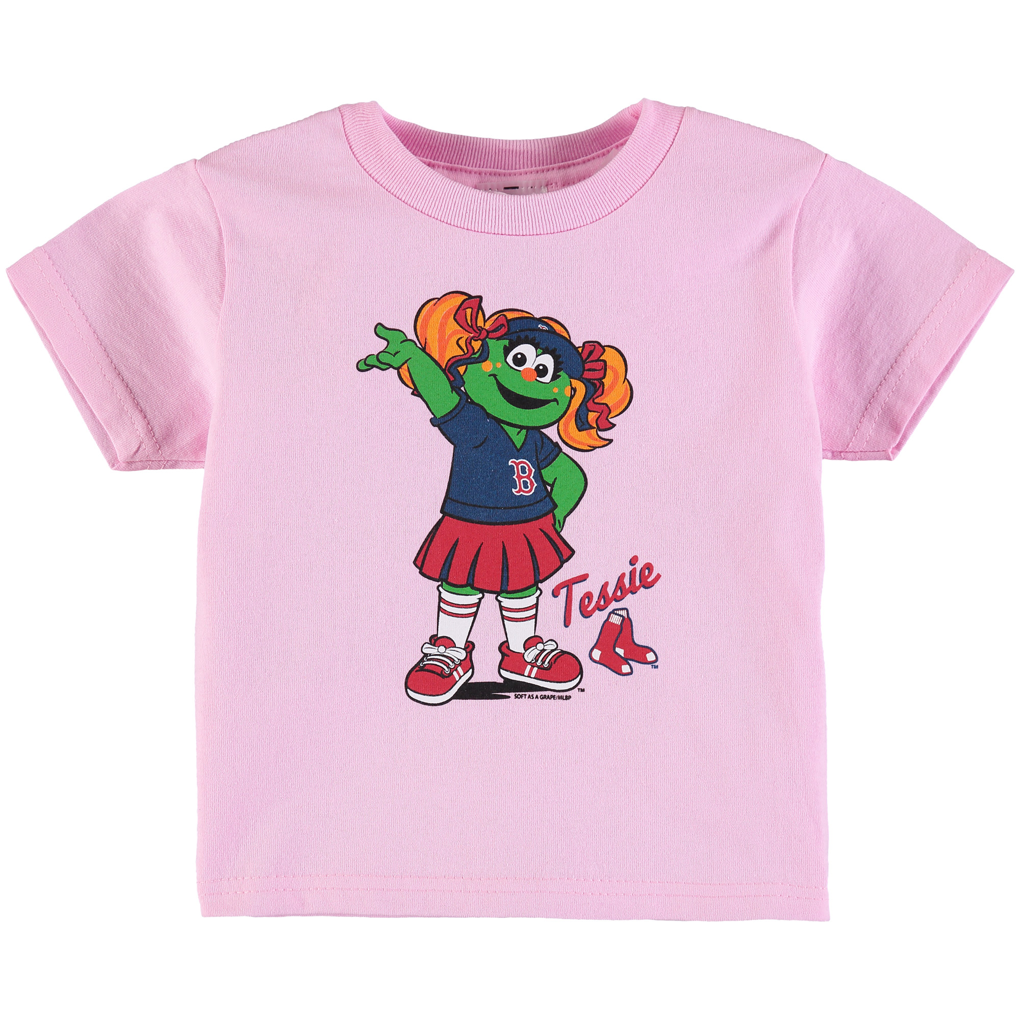 Boston Red Sox Soft as a Grape Girls Toddler Distressed Mascot T-Shirt - Pink