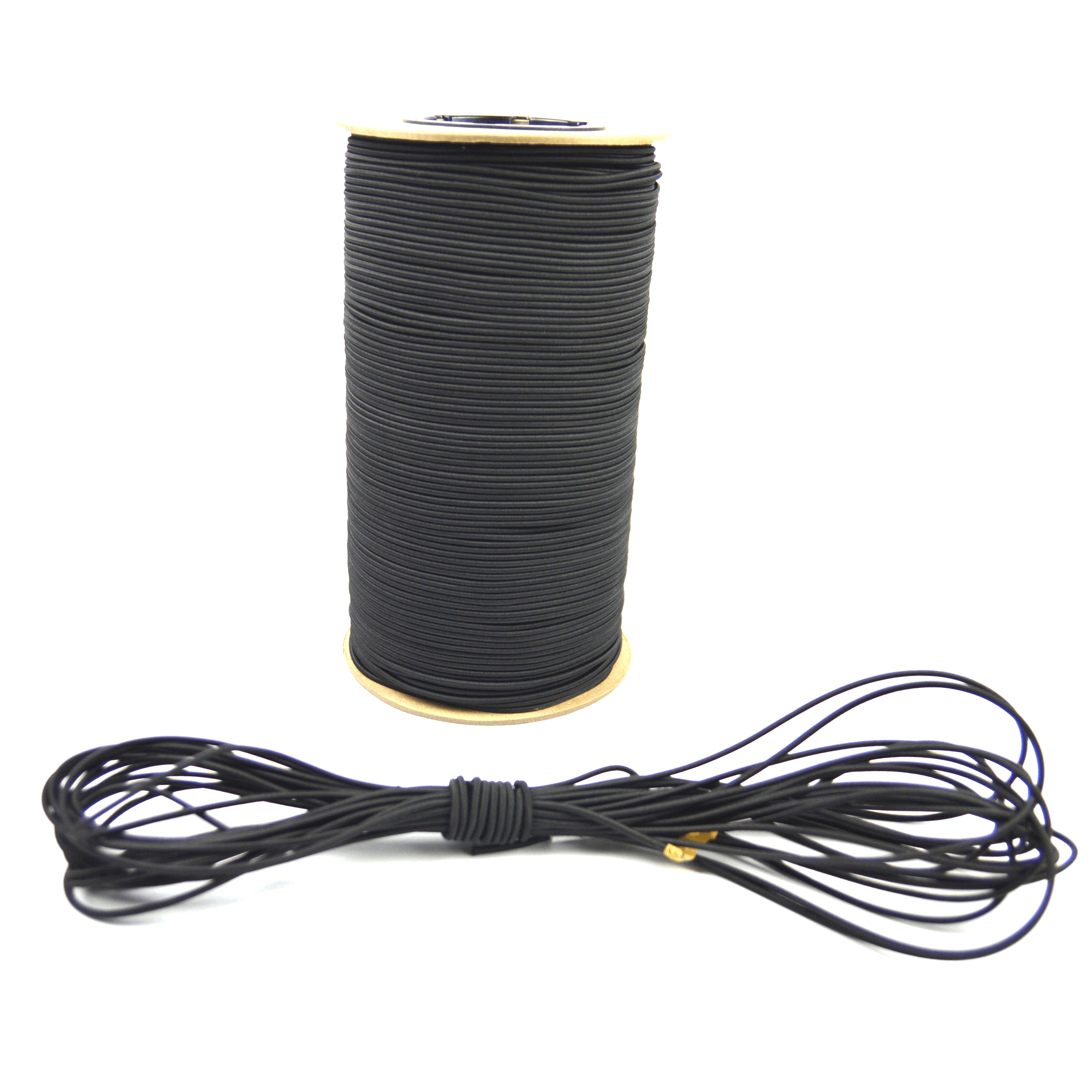 """500ft of Marine Masters 1/8"""" Black Bungee Shock Cord - Elastic Stretch Rope"""