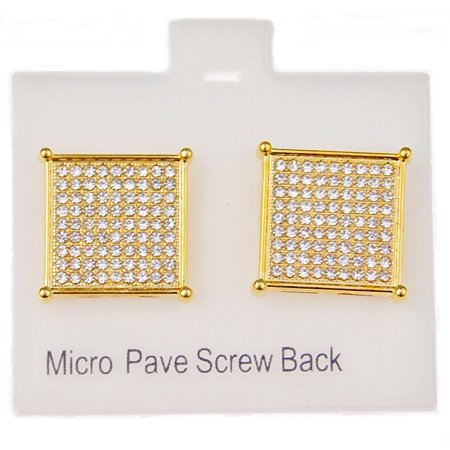 Mens 18k Gold Plated Square Hip Hop Earrings Screw Back Micro Pave Bling 4 Prong 16mm x 16 mm (Hip Earrings)